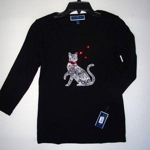Karen Scott Cat Lovers Top Rhinestones XS